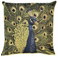 "NEW 18"" 45CM PEACOCK WITH TAIL OPEN BELGIAN TAPESTRY CUSHION COVER WITH ZIP 5249"