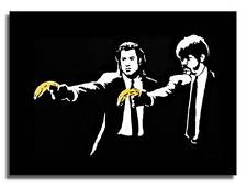 "BANKSY PULP FICTION BANANA QUALITY *FRAMED* CANVAS ART 24x16"" Art -"