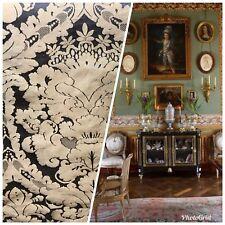 Designer Damask Drapery Satin Fabric - Black Gold- Decorating