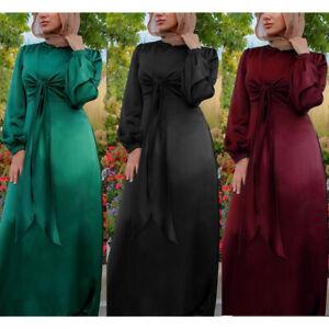 UK Womens Satin Long Sleeve Muslim Dubai Jilbab Abaya Party Long Maxi Dress Robe