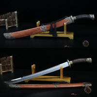 """HIGH QUALITY ROSEWOOD CHINESE SWORD """"QING DAO"""" Folded Steel Abrasive Sharp Blade"""