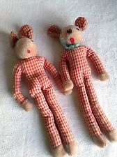 Vintage Rabbit & Mouse Soft Toys Red Gingham Shabby Antique Fun Projects