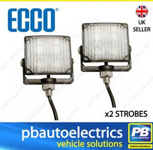 x2 Vision Alert VigiLED II 4 LED Strobe Hazard Warning Lamp 12/24v AMBER ED0001A