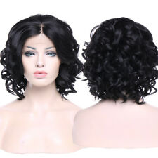 Short Bob Lace Front Wig Heat Resistant Synthetic 2 Tones Ombre Black Pink Wigs