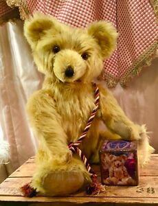 "24"" ANTIQUE 1940s KNICKERBOCKER TEDDY BEAR, LONG GOLD MOHAIR, LARGE MUZZLE"