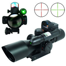 2.5-10x40 Rifle Scope Mil-dot illuminated - Green Laser & Mini Reflex Dot Sight