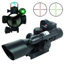 2.5-10x40 Rifle Scope Mil-dot illuminated - Green Laser & Mini Reflex Dot Sight