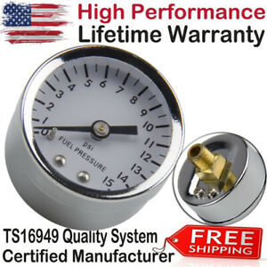 1561 Fuel Pressure Gauges White Face 0-15 psi 1-1/2 Inch diameter 1/8 NPT Chrome