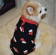 CUTE DOG PUPPY CHRISTMAS NAVY BLUE RED SANTA HAT SOFT FLEECE JUMPER TOP FREE P&P