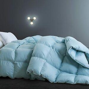 SNOWMAN Luxurious Goose Down Comforter 100% Egyptian Cotton Blue TWIN/ TWIN XL