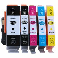 5pk NEW w/Chip 564 564XL Ink Cartridges for HP PhotoSmart 5510 7510 5520 6510