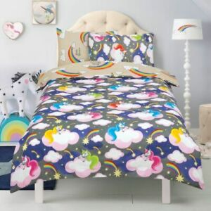 Kids unicorns and rainbows SINGLE Duvet Cover & Pillowcase Bedding  NEW