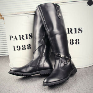 Fashion Men's Leather Military Zip Flat Heel Knee High Riding Boots Shoes Boots