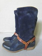 NEW n.d.c. FOR FREE PEOPLE BURNISHED NAVY BLUE LEATHER MID SHAFT BOOTS SZ 5