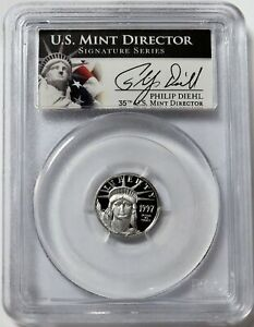 1997 W PLATINUM $10 PROOF AMERICAN EAGLE DIEHL SIGNED 1/10 OZ PCGS PR 69 DCAM