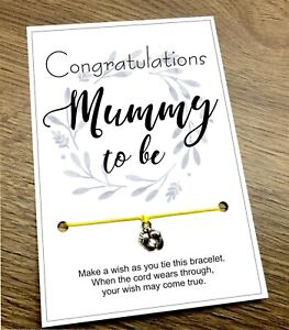 Mummy Mum To Be Wish Bracelet Baby Shower Congratulations Pregnancy Charm Gift