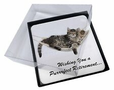 4x Kittens on Hammock 'Retirement' Picture Table Coasters Set in Gi, AC-2RET206C