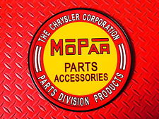 """MOPAR PARTS AND ACCESSORIES FORMED EDGE NEW METAL ROUND 12"""" STEEL SIGN W/ LOGO"""