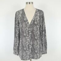 JOIE Silk Blouse Top Womens M Medium Snow Leopard Print Gray Black V-Neck Purine