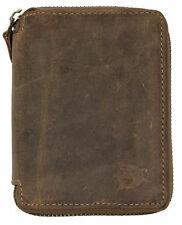 Brown natural strong genuine leather wallet with shark with metal zipper around