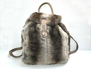 Fendi Furry Leather Backpack Rucksack Bag Vintage Authentic + Dust Bag Good Cond