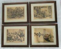 """Vtg Set of 4 Lionel Barrymore Foil Etched Framed Prints 11"""" x 9"""" Harbor Boats"""