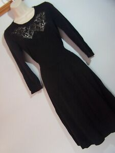 **HOBBS** Sz 10 Black Fine Knit Dress