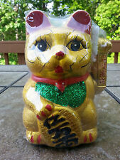 "7"" Chinese Good Luck Gold Waving Hand Paw Up Fortune Kitty Cat ( Ceramic )"