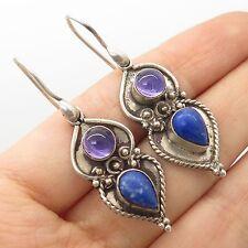 Vtg 925 Sterling Silver Real Lapis Amethyst Gemstone Earrings