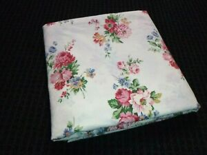 Ralph Lauren KING Flat Sheet Claire Pattern Floral on Off White 100% Cotton
