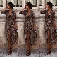 Fashion Women Party Evening Cocktail Long Sleeve V Neck Leopard Print Maxi Dress