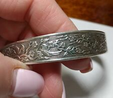 sterling silver vintage Reed and Barton cuff birds and vines