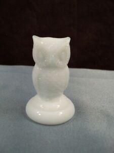 "HTF Boyd Art Glass White Milk Glass Woodsie Owl Figurine 2"" Tall"