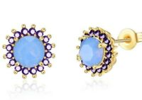 Gold Tone over 18K White Gold Plated 0.60ct Ethiopian Opal Stud Earrings, 5mm