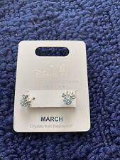 Disney Parks Minnie Birthstone Swarovski Crystal Silver Tone March  Earrings