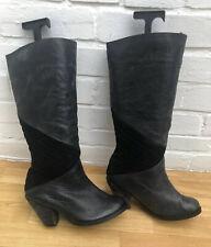 Faith Boots Leather Black Size 5 38 Cowboy Western Knee Calf