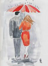 G.Schmidt Acquerello Stampa 20x30 Amanti Disegno Dipinto Arte G52