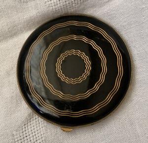 Vintage 1940's GWENDA Powder Compact Black Enamel Gold Spiro Bands
