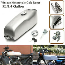 Silver 9L Fuel Gas Tank w/ Thick Iron Cap Switch Vintage Motorcycle Cafe Racer
