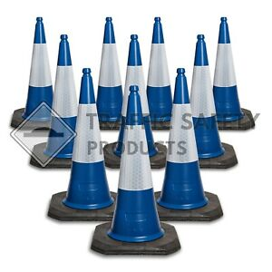 Pack of 10 - ELITE Traffic Cones 1000 mm 2 piece BLUE