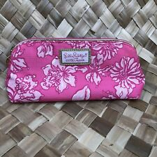 Lilly Pulitzer Estee Lauder Pink Floral Cosmetic Makeup Bag Organizer Gold