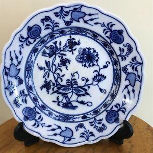 """Vintage Meissen """" Onion Pattern """" Side Plate #1 19 cm Dark Blue - Fair Condition"""