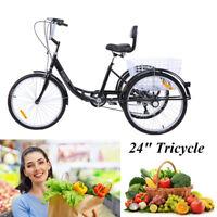 """3 Roues Vélo Noir Tricycle adulte Classic 24"""" cadre démontable pour transport"""