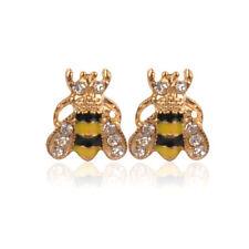 Lovely Jewelry Enamel Rhinestone Bumble Bee Crystal Earrings Animal Ear Stud