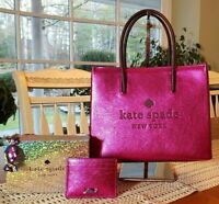 Kate Spade Trista Crinkle Patent Conv. Pink Tote/Satchel &/or Charm w/Card Case