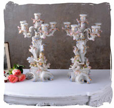 Antique Style Lights Porcelain Two Candelabrum Rococo Historic Candle Holder New