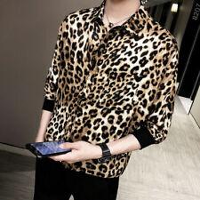 Mens Short Sleeve Leopard Print Shirt Singers Party Shirt Korean Tee Tops Coat
