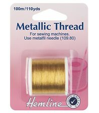 HEMLINE Sewing Machine GOLD METALLIC THREAD 100m (METERS) -Product Code H242.G