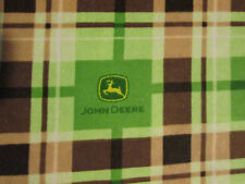 JOHN DEERE LOGO FARM SQUARES PLAID COTTON FLANNEL FABRIC FQ