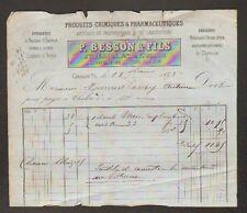"""CHALON-sur-SAONE (71) PRODUIT CHIMIQUE & PHARMACEUTIQUE """"P. BESSON & Fils"""" 1873"""